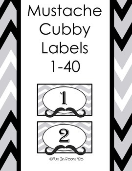 Mustache Cubby Labels - Numbers 1-40