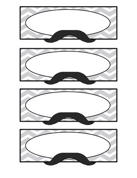 Mustache Cubby/Classroom Labels {two sizes & three styles}