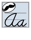 Mustache Cursive Alphabet