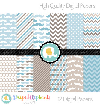 Mustache Digital Papers - Blue and Brown