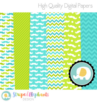 Mustache Digital Papers - Blue and Lime