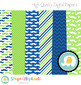Mustache Digital Papers - Navy and Green