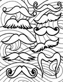 Mustache Doodle Coloring Page