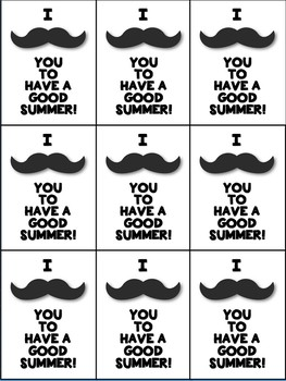 Mustache End of the Year Gift Tag (I Mustache You to Have a Good Summer!)