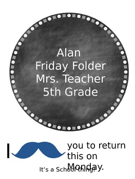 Mustache Friday Folder Cover Page Editable