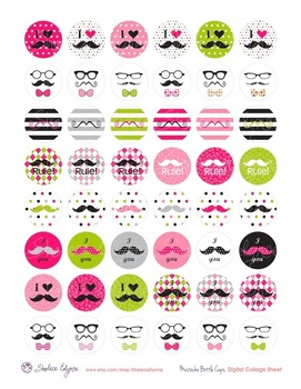 Mustache Girl Bottle Cap Images