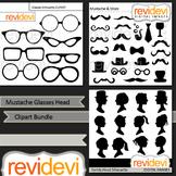 Mustache Glasses Head silhouette clip art bundle (3 packs)