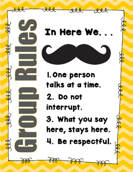 """""""Mustache"""" Group Rules Poster"""