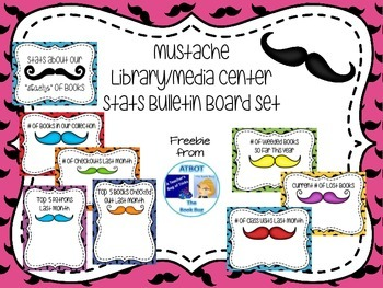 Mustache  Library/Media Center Stats Mini Bulletin Board Set
