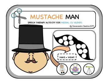 Mustache Man: Cut + Paste Activity for Initial /M/ Sound: Speech Therapy SLP
