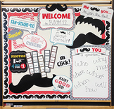 Mustache Mania - Photobooth Bulletin Board Set, Borders & Stickers