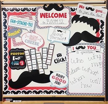 Mustache Mania - Photobooth Bulletin Board Set, Borders &