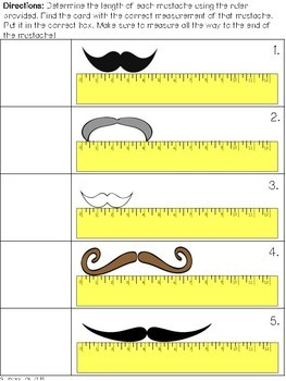 Mustache Measurement Activity to the Nearest Quarter Inch