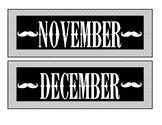 Mustache Months for Calendar Bulletin Board