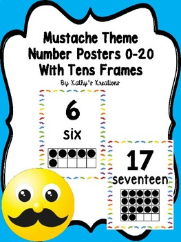 Mustache Number Posters 0-20 With Ten Frames