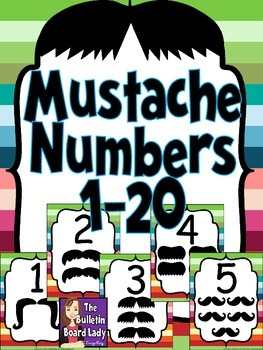 Mustache Number Posters 1-20