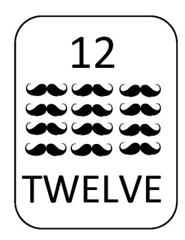 Mustache Number Posters 1-20  Add a bit of FUN to your classroom!