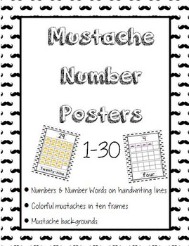 Mustache Number Posters 1-30 **UPDATED**