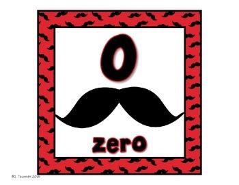 Mustache Numbers 0-20 Set