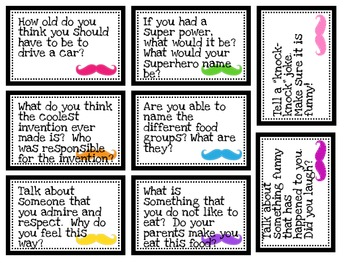 Mustache Question Cards-Instacards