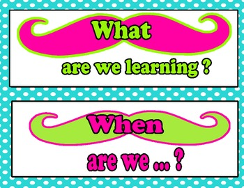 Mustache Questions for Bulletin Boards