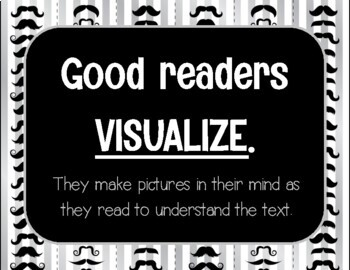 Mustache Reading Comprehension Posters - Mustache Classroom Theme