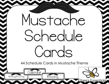 Mustache Schedule Cards