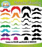Mustache Silhouettes Clipart {Zip-A-Dee-Doo-Dah Designs}