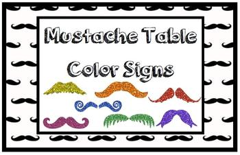 Mustache Table Color Signs