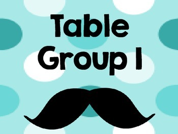 Mustache Table Group Signs