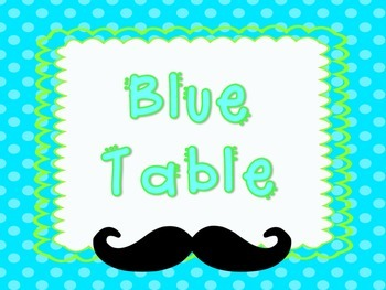 Mustache Themed Table Posters