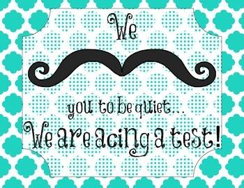 Mustache Testing Poster- Quatrefoil Style