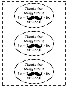 Mustache Thank You Labels for Students and Volunteers
