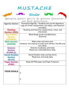 Mustache Theme Binder Organizer