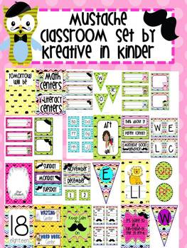 Mustache Theme Classroom Decor Set for Beginning of Year