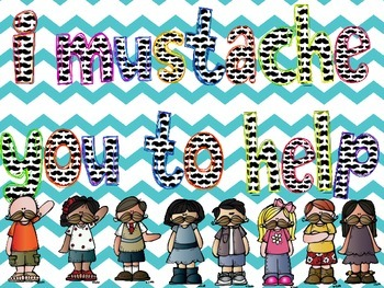 Mustache Theme Classroom Helpers Display for Pocket Chart or Board