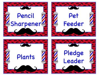 Mustache Theme Job Chart Cards / Signs - Great for Classroom Management!!!