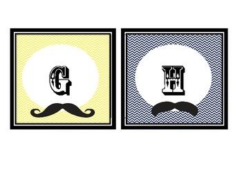 Mustache Theme Word Wall