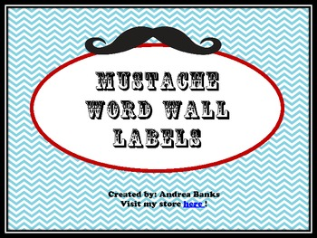 Mustache Theme Word Wall