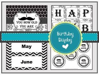 Mustache Themed Birthday Display ~Black and White ~Editable~