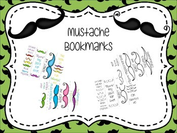 Mustache Themed Bookmarks
