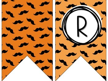 Mustache Themed Bunting