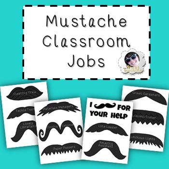 Classroom Jobs - Mustache Themed