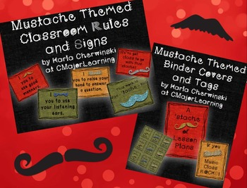 Mustache Themed Classroom Rules, Signs, Binder Cover & Tags
