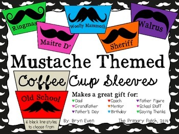 Mustache Themed Coffee Cup Sleeves