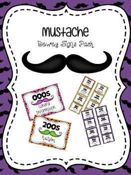 Mustache Themed Dewey Signs Pack