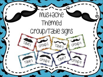 Mustache Themed Group/Table Signs