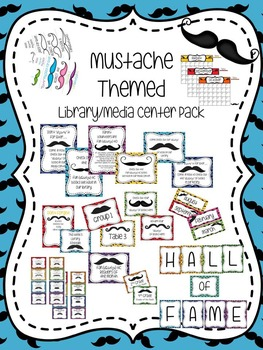 Mustache Themed Library Media Center Pack {with EDITABLE p