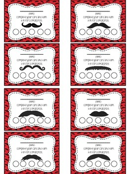 Mustache Themed Punch Card Pack