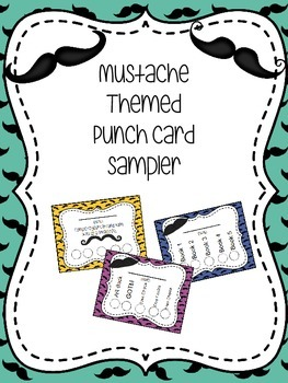 Mustache Themed Punch Card Sampler